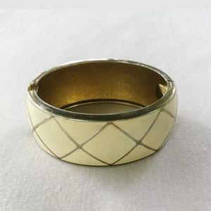 Pale Yellow Geometric Enamel Wide Clamper Bracelet